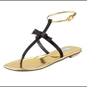 Prada Milano Black & Gold Satin Bow Thong Sandal